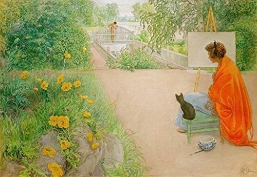Kunstdruck/Poster: Carl Larsson Die Brücke - hochwertiger Druck, Bild, Kunstposter, 95x65 cm -