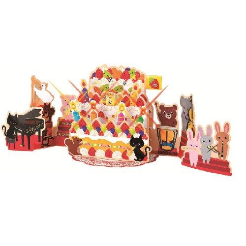 Geburtstagskarte mit Orchester-Musik und beleuchteten Kerzen, zum Aufstellen