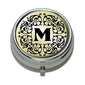 Letter M Initial Black White Tan Pill Case Trinket Gift Box