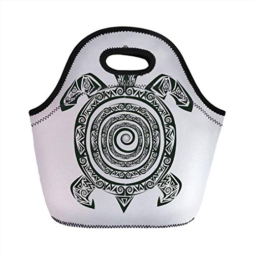 Portable Bento Lunch Bag,Turtle,Maori Tattoo Style Figure of Sea Animal Tribal Spiral Form Ancient Tropical,Black and White,for Kids Adult Thermal Insulated Tote Bags (Tasche Duffle Tattoo)