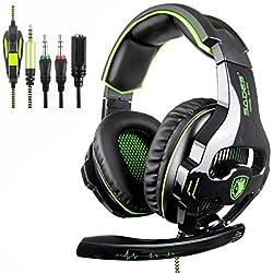 [SADES SA810 Xbox one micro PS4 Gaming Headset]3.5 mm filaire sur l'oreille Casque de jeu avec microphone Deep Bass bruit annulation des jeux casque Gaming pour PS4 PC Mac iPad