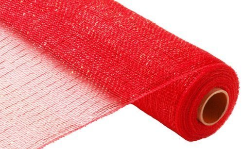 Metallic Poly Deco Mesh - Red/Red Metallic Foil by Import Metallic-poly-mesh