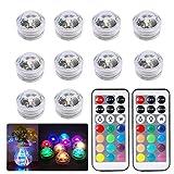 MMLC 10 Stück Unterwasser Licht 10-LED RGB Multi Farbwechsel Wasserdichte Tauch LED Leuchten, Batteriebetrieben mit IR-Fernbedienung für Aquarium, Vasen, Brunnen, Whirlpool, Aquarium (Clear)