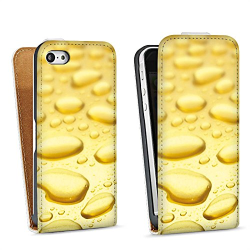 Apple iPhone 4 Housse Étui Silicone Coque Protection Or Look Gouttes Sac Downflip blanc