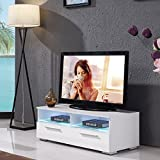 UEnjoy TV Unit White Gloss TV Stand 100CM TV Cabinet with 2 Shelves and 2 Drawers FREE LED RGB Lights