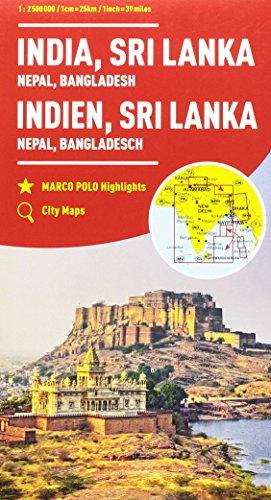 India, Nepal, Bangladesh, Sri Lanka 1:2.500.000 (Carte stradali Marco Polo)