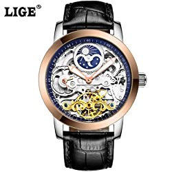 LIGE Tourbillon Mens Watches Relogio Masculino Top Brand Luxury Men Watch Automatic Mechanical Leather Wristwatches (Watch Only) - 6812L - Black Rose Gold