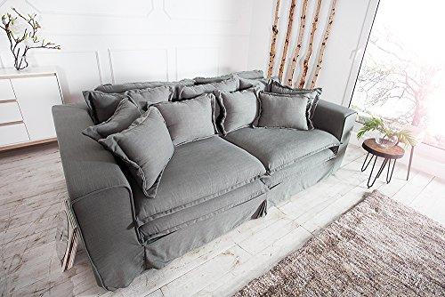 XXXL Hussensofa CLOUD grau Leinen Stoff Hussen 230cm Sofa Wohnlandschaft Couch Wohnzimmer - 6
