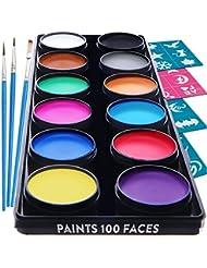 Blue Squid Face Painting Palette de Maquillage pour Enfants by, 12 Palettes Couleurs, 30 pochoirs, 3 pinceaux, Peinture de qualité Professionnelle pour Enfants et Adultes, Haute qualité Non-Toxique
