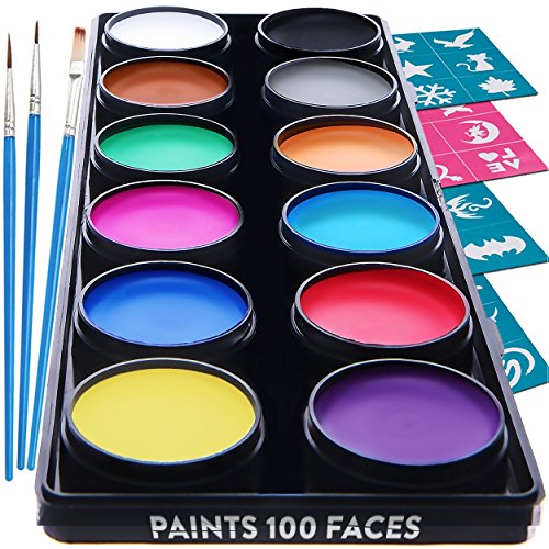 Face Paint Kit for Kids – 30 Stencils, 12 Large Washable Paints, 3 Brushes, Safe Facepainting for Sensitive Skin, Professional Quality Body & Face Facepaints - Haloween Makeup Paint Supplies