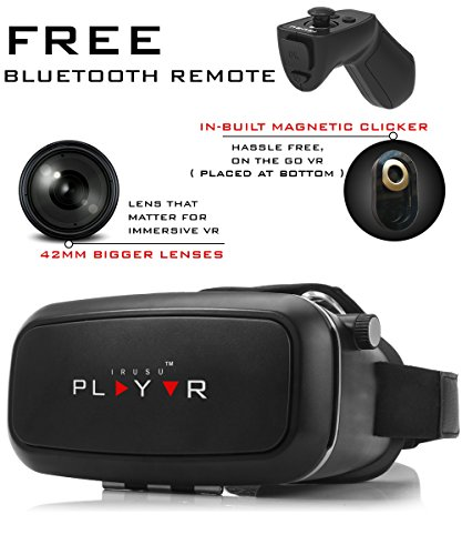 IRUSU PLAY VR Headset – with Remote – UPGRADED 42MM Fully Adjustable virtual reality lenses with FREE Bluetooth remote and Magnetic Clicker – VR glasses with HD Resin lenses .Virtual Reality glasses Works with leading mobile brands like Apple iphone 6 and plus, Samsung, Xiaomi,Lenovo,Oneplus,Moto, LG, nexus,Google Pixel,LeEco le2 and other mobiles with gyroscope.Experience 360 videos, 3D and VR games like never before.