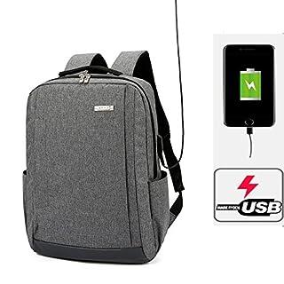 RDJM Sac à dos d'ordinateur portable de voyage de voyage, sac à dos d'ordinateurs portables durables minces avec le port de chargement d'USB, sac d'ordinateur d'école de collège résistant à l'eau pour des femmes et des hommes , Gray