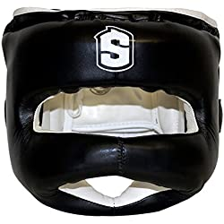 Sharkboxing Iron Man - Casco de boxeo, color negro, talla única