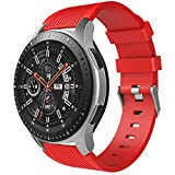 TiMOVO Band for Samsung Galaxy Watch 46mm, Soft Silicone Strap Fit Samsung Gear S3 Classic/Frontier/Garmin Vivomove/Moto 360 2nd Gen 46mm Smart Watch - Red