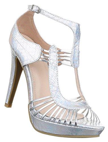 Damen Sandaletten Schuhe High Heels Pumps Stilettos Plateau Schwarz Silber 36 37 38 39 40 41 Silber