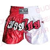 DUO GEAR Boys 'Muay Thai y Kickboxing Pantalones Cortos de Boxeo, Niños, Color Red/White, tamaño Small