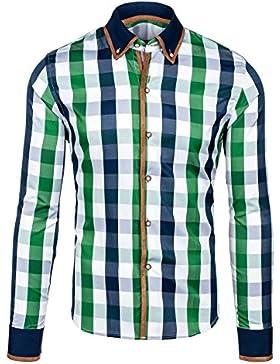 BOLF Hombres Camisa Con Mangas Largas A Cuadros Camisa del ocio Slim Fit 5719
