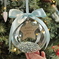 Personalised Babies 1st Christmas Star Decoration Bauble