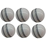 Leather Cricket Ball White, 4 Piece Ball, Set Of 6 Leather Balls For Test Matchs, One-Day Matchs And Practice, High Quality By SST Sports