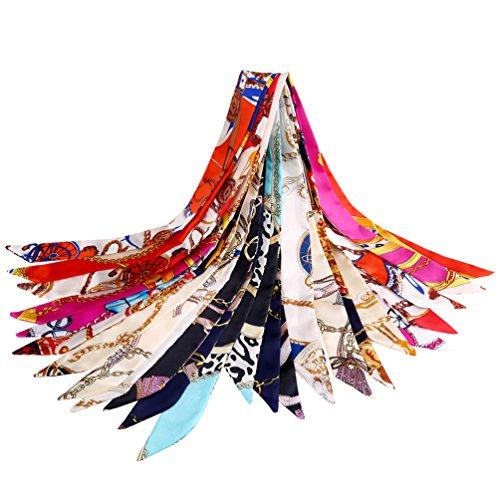Vbiger Vbiger Halstuch Damen Seidentuch Damen Halstuch Damen Seide 100 x 4cm 12 Stück