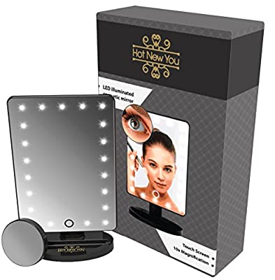 Professional LED Make Up Mirror with Lights and Magnifier 10x (removable) Touch Sensor Illuminated High Definition Portable Cosmetic Makeup Mirror - Luxury Designer Makeup Mirror The Perfect Gift For Women - Do Not Settle For Less Than The Best - cheap UK
