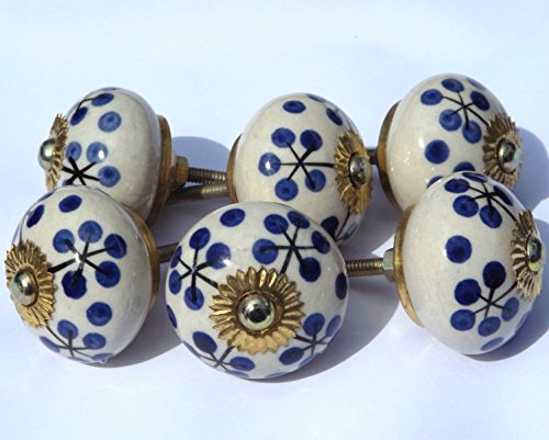 6 x Antique white round with black stem and blue spots (brass fittings) ceramic cupboard door knob drawer pull shabby chic handle porcelain
