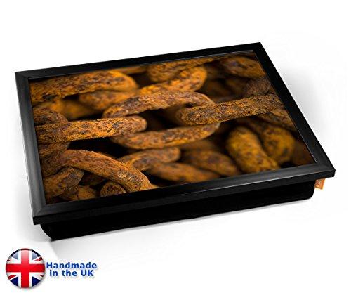 Rusty Chain Link Corroded Metal Cushion Lap Tray Kissen Tablett Knietablett Kissentablett - Schwarzer Rahmen Black Sushi Tray