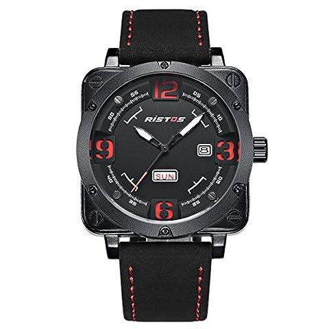 Longbo classique Grand carré Coque montre bracelet Homme en daim Noir avec date et semaine Fonction Sport
