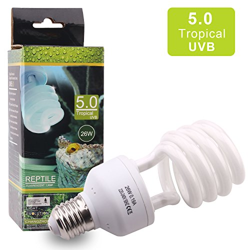 Amphibien UVB 5.0 26W Tropischeterrarium hohem UVB Ausstoß Kompaktleuchtstofflampe für Reptil Schildkröte Eidechse Sukkulenten Förderung der D3-Synthese Hilfe Erhöhen Sie die Kalziumabsorption