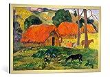 kunst für alle Bild mit Bilder-Rahmen: Paul Gauguin Hund vor strohgedeckten Hütten - dekorativer Kunstdruck, hochwertig gerahmt, 90x75 cm, Gold gebürstet