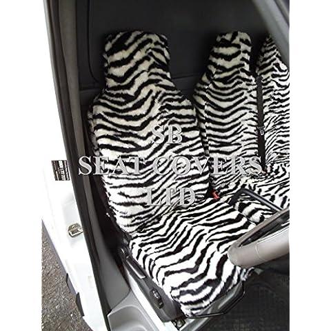Me–para adaptarse a un Ford Transit 2000Van, fundas de asiento, piel sintética de cebra tejido 1único y 1doble