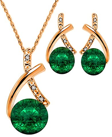 Pretty Jewellery Rose Gold Finish 925 Sterling Silver Round Green Emerald & Simulated Diamond Solitaire Stylish Pendant & Earrings