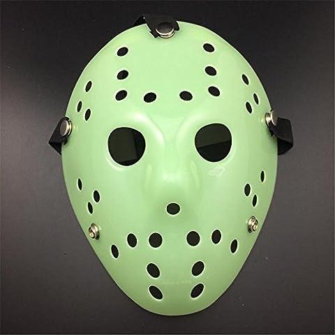 Extrem Glühen in der dunklen Fancy Dress Jason X vS Freddy Halloween Freitag der 13. Hockey-Masken in ein Leuchten in die dunkle Farbe Farben Erwachsene PVC hochwertige Profi-Maske mit elastischem Klettband Fancy Gesicht Maske (Jason Kostüm Freitag Der 13.)