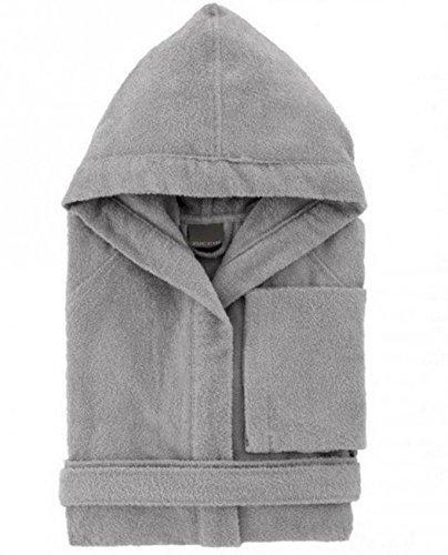 Accappatoio zucchi basics journey uomo donna con cappuccio taglia s - m - l - xl microspugna spugna di puro cotone 260gr/m² (grigio col. 1739, l - 50/52)