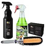 Tuga Chemie Alu-Teufel Spezial + CSF WB01 Felgenbürste + ADBL Black Water Reifenglanz + ADBL One Shot Tire Pad I 4- teiliges Reinigungs Set