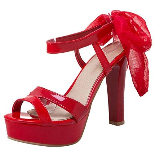 COOLCEPT Damen Mode Schnurung Sandalen Open Toe Slingback Blockabsatz Schuhe Rot