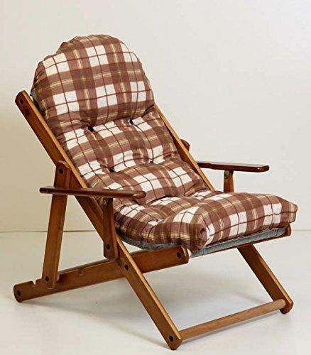Fauteuil chaise relax chaise longue en bois pliable luxe Coussin Super rembourré H 100 cm séjour cuisine salon canapé réglable 3 positions