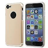 VAPIAO iPhone 7 Hülle AluBack Luxus Schutzhülle Aluminium Backcase Gold