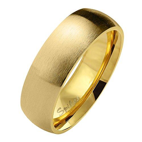 Mianova Herren Damen Band Ring Partnerring Edelstahl Verlobungsring Damenring Herrenring Matt Gold Größe 68 (21.6) Breit 6mm