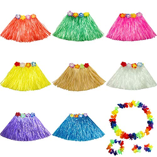 Aisamco 8 Stück Hawaiianische Luau Hula-Röcke mit Blumenkostüm-Set  - Gras-Hibiskus-Blumen-Geburtstags-Tropische Partydekorationen bevorzugt Liefert