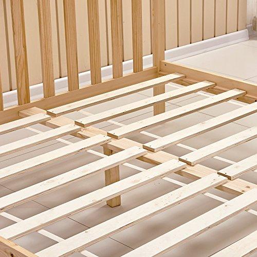 Willstone Wooden Bed Frame Solid Pine Wood Bedstead for Home Bedroom Children Bedroom (4FT6, Oak)