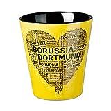 Borussia Dortmund BVB Tasse Herz, Keramik, Schwarz/gelb, 10 x 10 x 15 cm