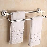 Toalla de Baño Doble Polo Polo Toallero,Double Deck Polo toallas baño Ducha Toallero accesorios de baño baño Toalla colgador pilones Vestidor Percha wc Retro plateado 33-113cm(Tamaño : 65cm)