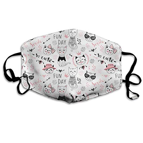 Women & Men Earloop Half Face Mouth Masks Mouth Mask Anti-Dust Mouth-Muffle - Comfort Windproof Outdoor Mouth Mask for Kids Youth Boys Girls (Cute Pink Cat)