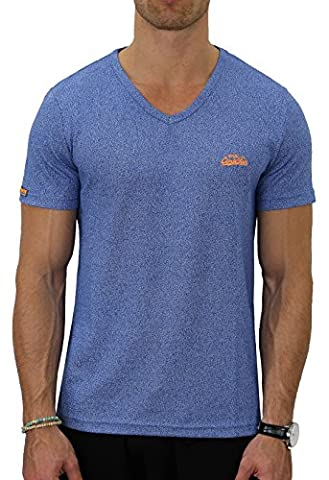 M.Conte Herren Fitness T-Shirt Sportstyle Kurzarm Stickerei Logo V-Kragen Grün Blau Purple Marine M L XL XXL Carl (M, Rich
