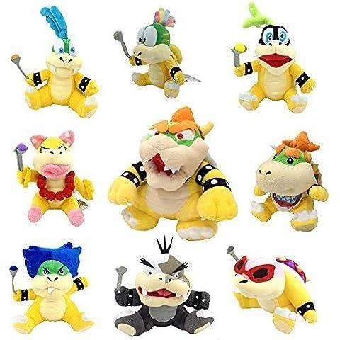 Un set di 9pcs Bowser di Super Mario Bros peluche king Baby Bowser Jr Bambini bowserotti Koopa Larry Iggy Lemmy Kilmister Roy Ludwig Wendy