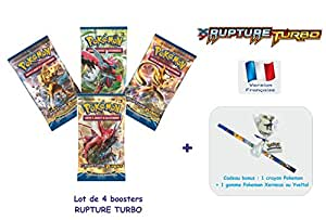Carte Pokemon - Lot de 4 booster pokemon XY RUPTURE TURBO avec 1 cadeau bonus offert