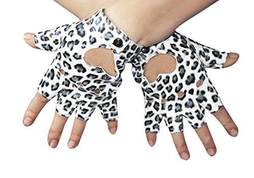Damen Herren Fingerlos Handschuhe Punk Hip Hop Handschuhe Fäustlinge aus PU Leder für Bühnenauftritte, Party, Club, Festivals, (Hip Kostüme Hop 90's)