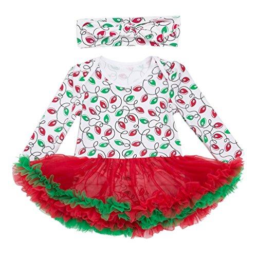 Anguang Baby Mädchen Bekleidung Set Langarm Tütü Kleid Stirnband Weihnachtsmann Kostüm für Weihnachtsgeschenk Stil 1 XL