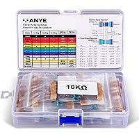 VANYE Set Resistore A Film Metallico 525pz 17 Values 1% Tolleranza Metal Film resistori 0 Ohm-1M Ohm, 1/4 W, Pin (0.022 inches, φ0.55mm) Per Arduino e Altri Progetti di Elettronica